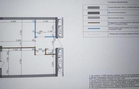 4 корпус 1-к.кв. План внутренних стен