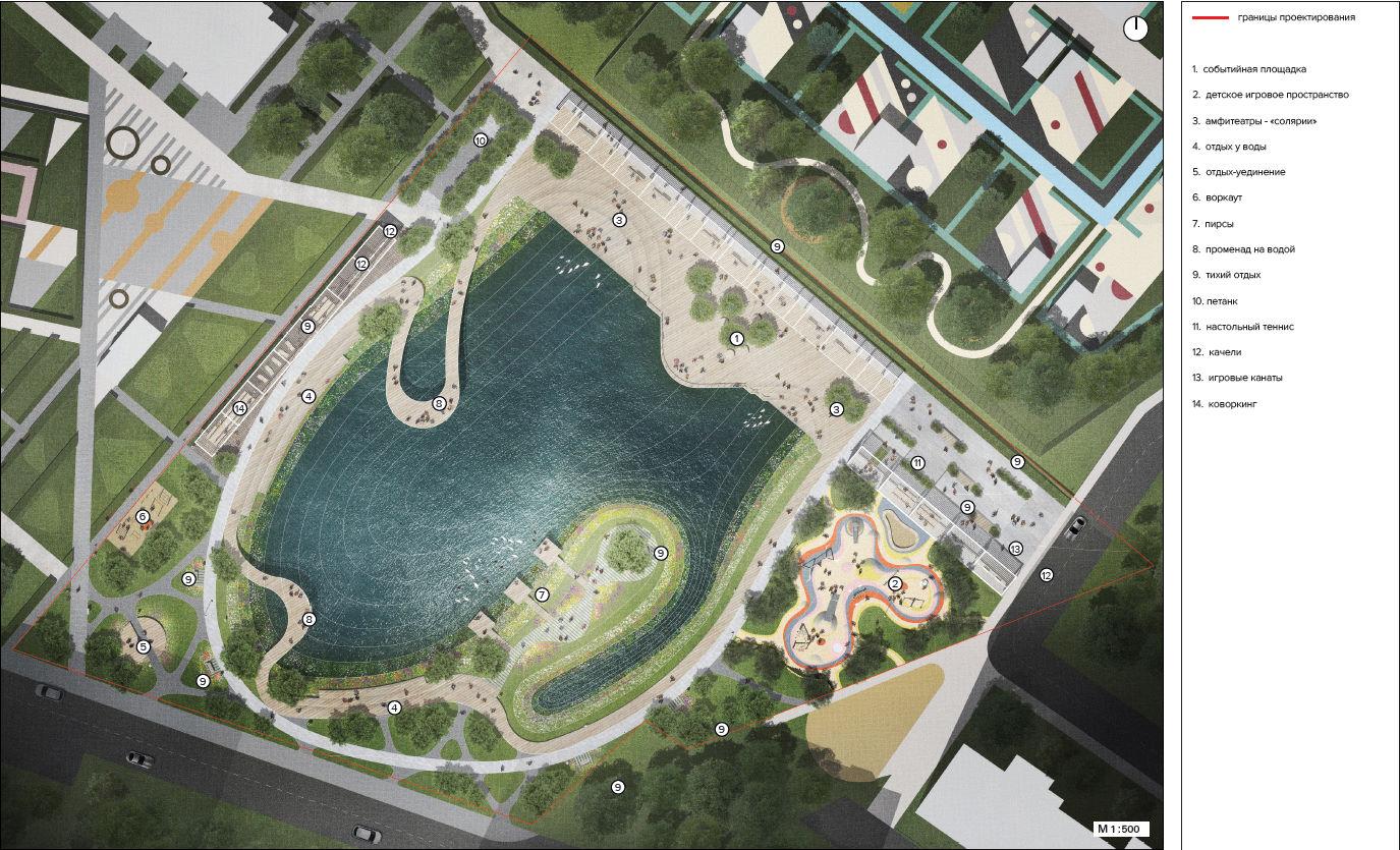 Проект благоустройства пруда Опытное поле 2020