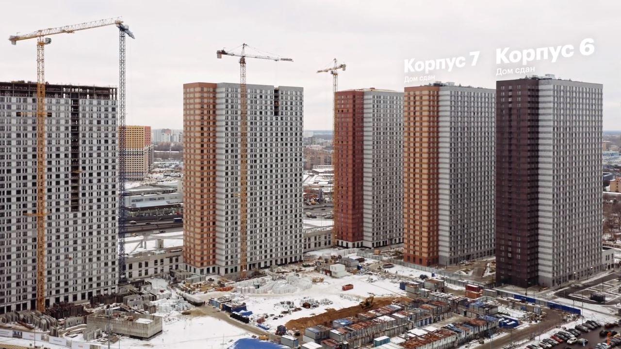"""Видео строительства 6, 7, 8, 9, 10 корпусов ЖК """"Оранж Парк"""" от 18 декабря 2020 г."""