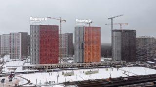 """Видео строительства 6, 7, 8, 9, 10 корпусов ЖК """"Оранж Парк"""" от 23 января 2021 г."""